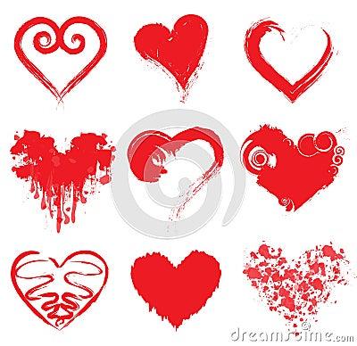 Grunge Ink Hearts