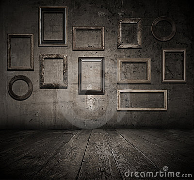 Grunge interior with frames