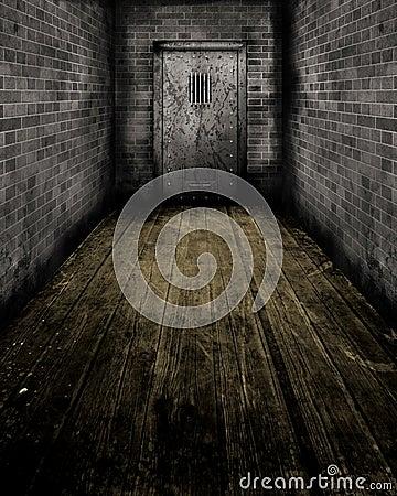 Grunge Interior with a prison door