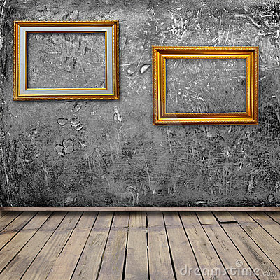Grunge interior room with photo frame