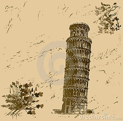 Grunge Leaning Tower of Pisa