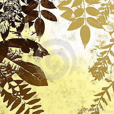 Grunge leaves silhouette