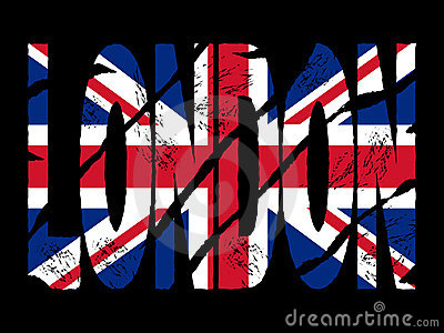 Grunge London text with flag