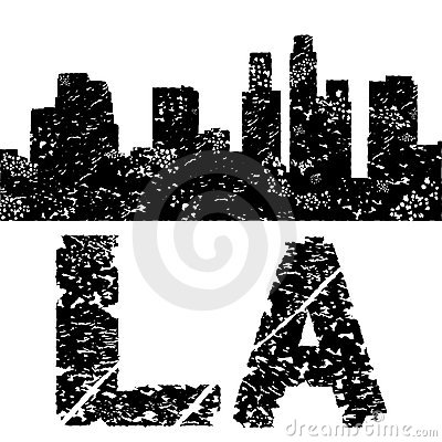 Grunge Los Angeles skyline with text