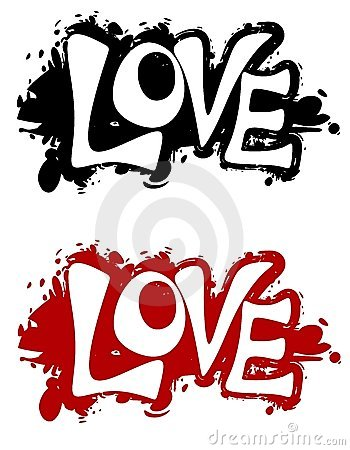 Grunge Love Ink Splatter Logos or Banners