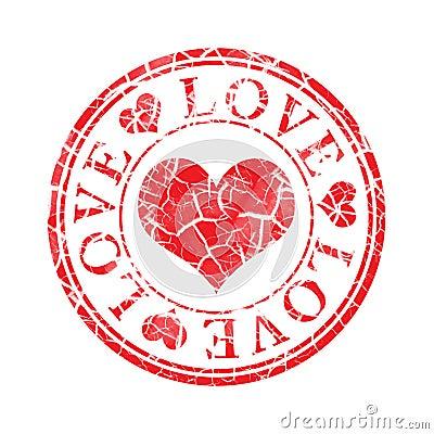 Grunge love stamp