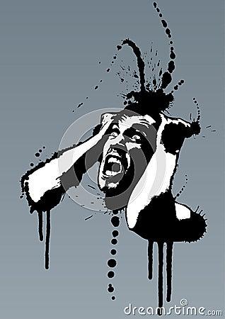 Free Grunge Mad Nervous Man Screaming Stock Photos - 4063623