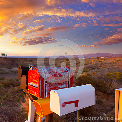Free Grunge Mail Boxes In A Row At Arizona Desert Stock Photography - 35768072