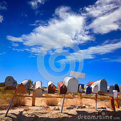 Free Grunge Mail Boxes In A Row At California Mohave Desert Royalty Free Stock Photo - 35767875