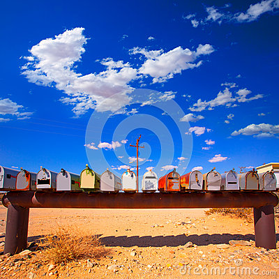 Free Grunge Mail Boxes In California Mohave Desert USA Stock Image - 35767971