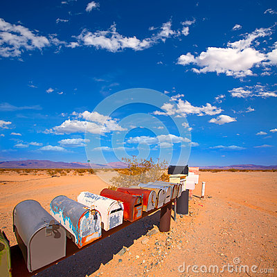 Free Grunge Mail Boxes In California Mohave Desert USA Royalty Free Stock Photos - 35768138