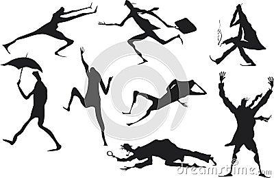 Grunge man silhouettes