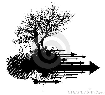 Grunge modern tree design element