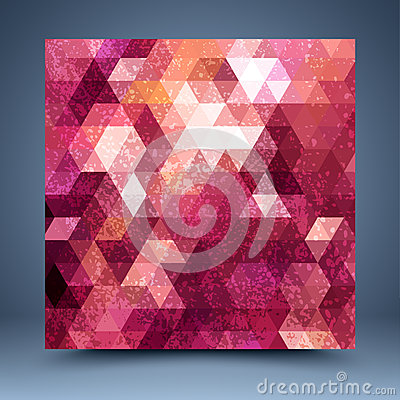 Grunge red mosaic abstract background