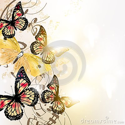 Grunge music background with butterflies