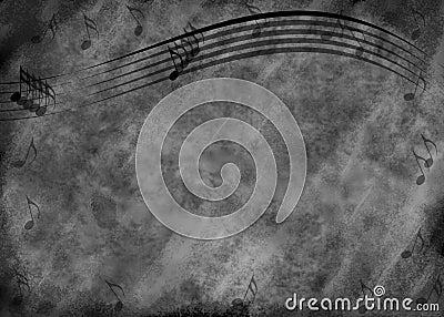 Grunge Music Note Background
