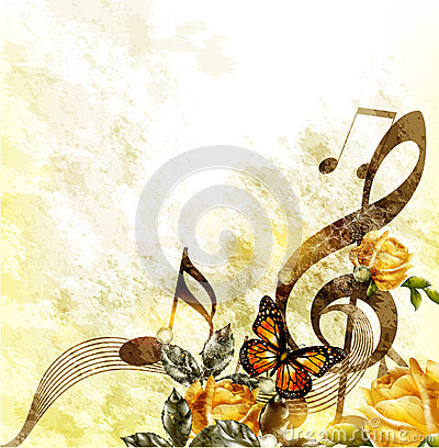 Grunge music romantic background with notes and roses Stock Photo