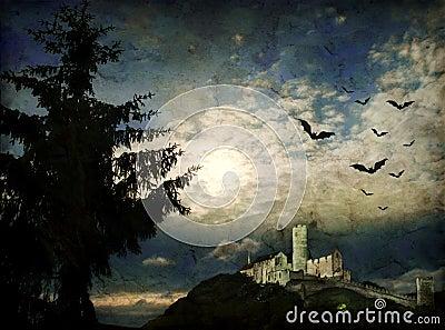 Grunge night scene with moonlight
