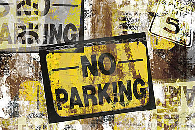 Grunge no parking signs