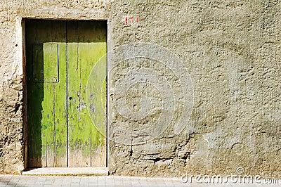 Grunge old green door