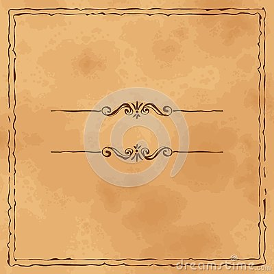 Grunge old paper background  with hand drawn frame