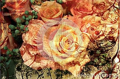 Grunge orange roses