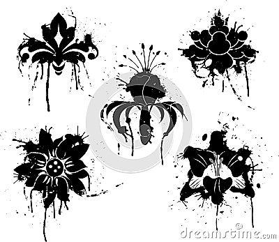 Grunge paint flower, element for design, vector