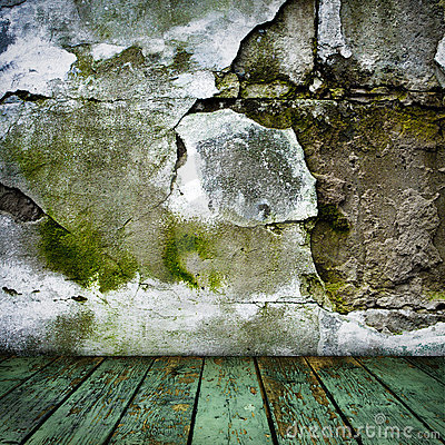 Grunge painted cracked wall and wooden floor