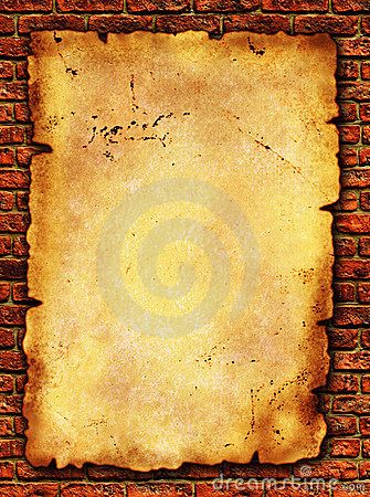 Grunge paper on brick wall texture