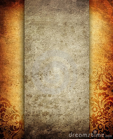 Grunge paper layout with floral pattern