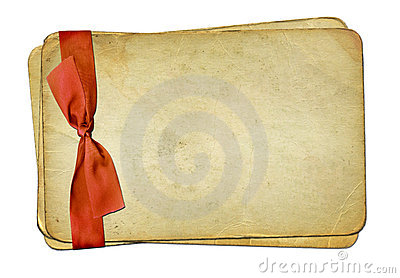 grunge papers with bow on isolated background