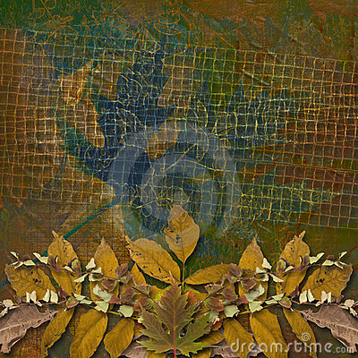 Grunge papers design with autumn foliage