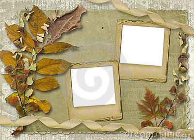 Grunge papers design with foliage