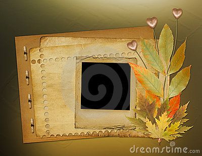 Grunge papers design with foliage and hearts