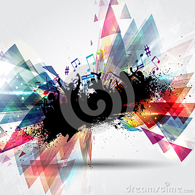 Grunge party people on abstract background