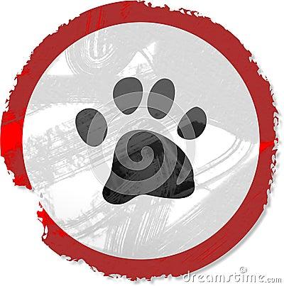 Grunge paw sign