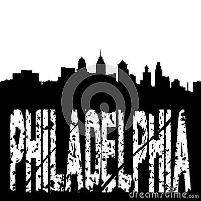 Grunge Philadelphia with skyline