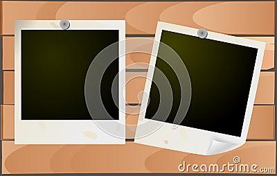 Grunge photo frames on wood
