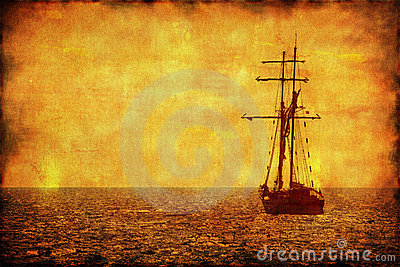 Grunge picture of alone sailing ship