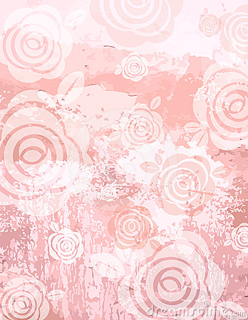 Grunge pink background with decorative roses