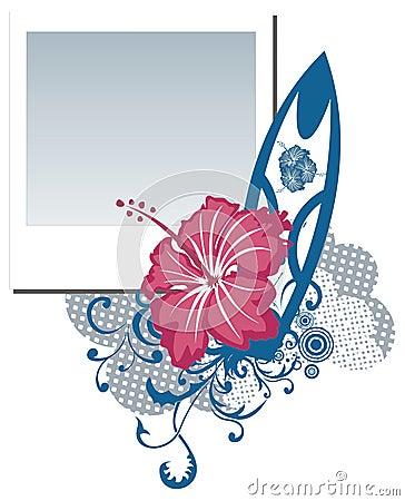 Grunge  polaroid photo frame with hibiscus flower