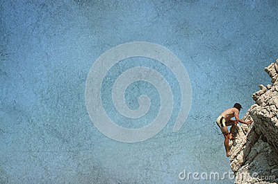 Grunge postcard with a rock climber