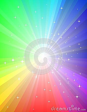 Grunge Rainbow Sunburst