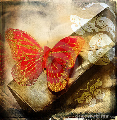 Free Grunge Red Butterfly Stock Photography - 1058842