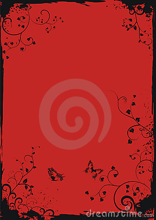 Grunge red floral frame with butterflies