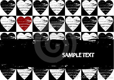 Grunge red hearts