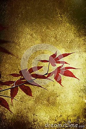 Grunge red leaf