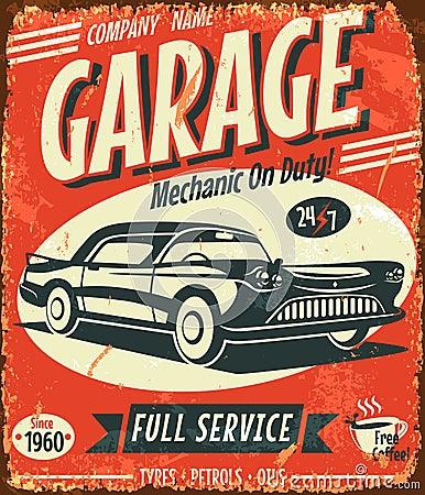 Grunge retro car service sign