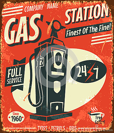 Free Grunge Retro Gas Station Sign Royalty Free Stock Image - 35427666
