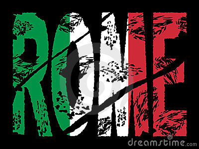 Grunge Rome text with flag